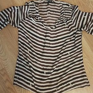 XS Maroon & cream striped blouse